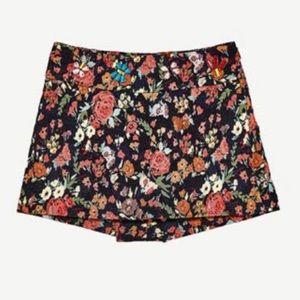 Zara Trafaluc Jacquard Floral skort shorts XS